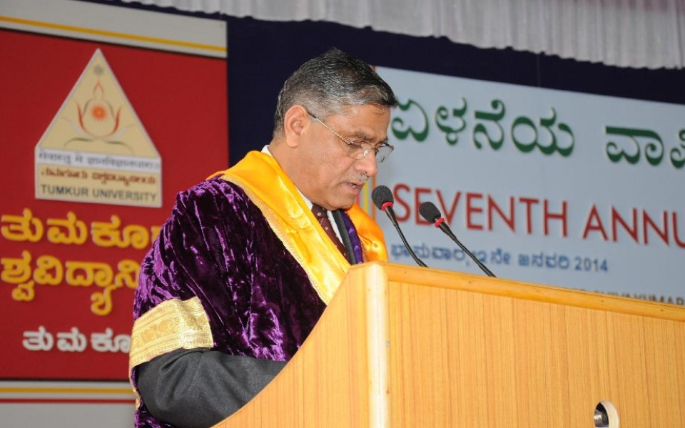 Prof. A.H.Rajasab, Vice Chancellor, at the  7th Annual Convocation, held on 12 Jan, 2014