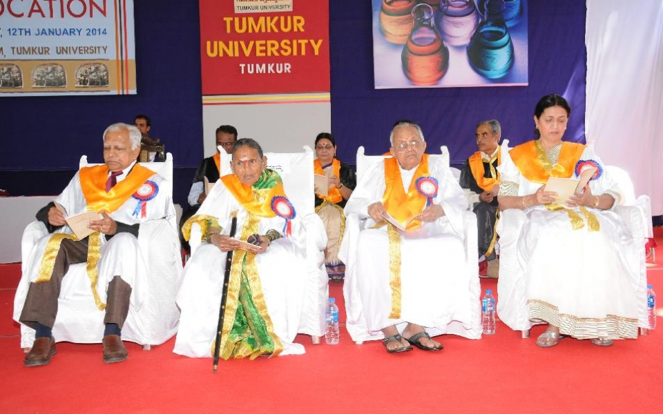Recipients of Doctorates Honoris Causa at the 7th Convocation held on 12 Jan, 2014: Dr. P.S.Shankar, Smt. Narasamma, Sri H.G.Govindegowda, Mrs. Shaista Yusuf