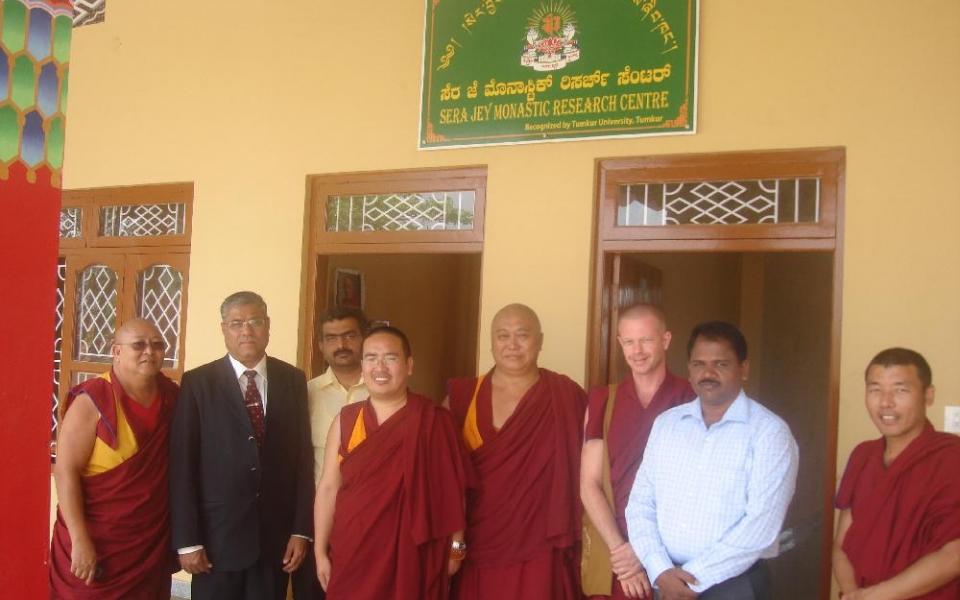 Vice Chancellor Prof. A.H.Rajasab's visit to Sera Jey Monastic Research Centre, Bylukuppe, Mysore District.