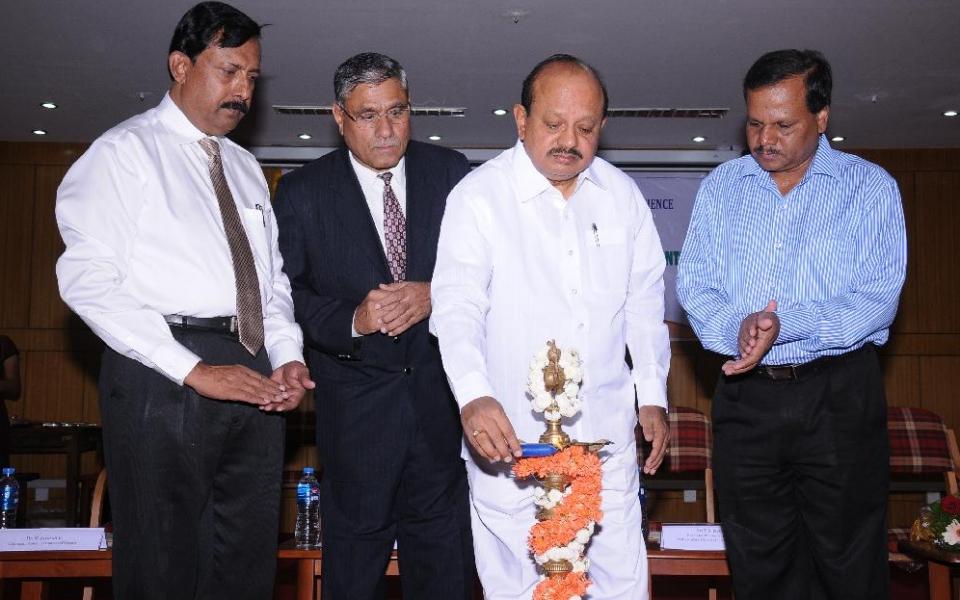 Inauguration of National Seminar  - Sand Mining Impact on Environment by Hon'ble Minister for Law, Sri T.B.Jayachandra held on 22 Sep 2014. Vice Chancellor  Prof.A.H.Rajasab, Registrar  Prof. D. Shivalingaiah and Dr. M Jayaramu were present.