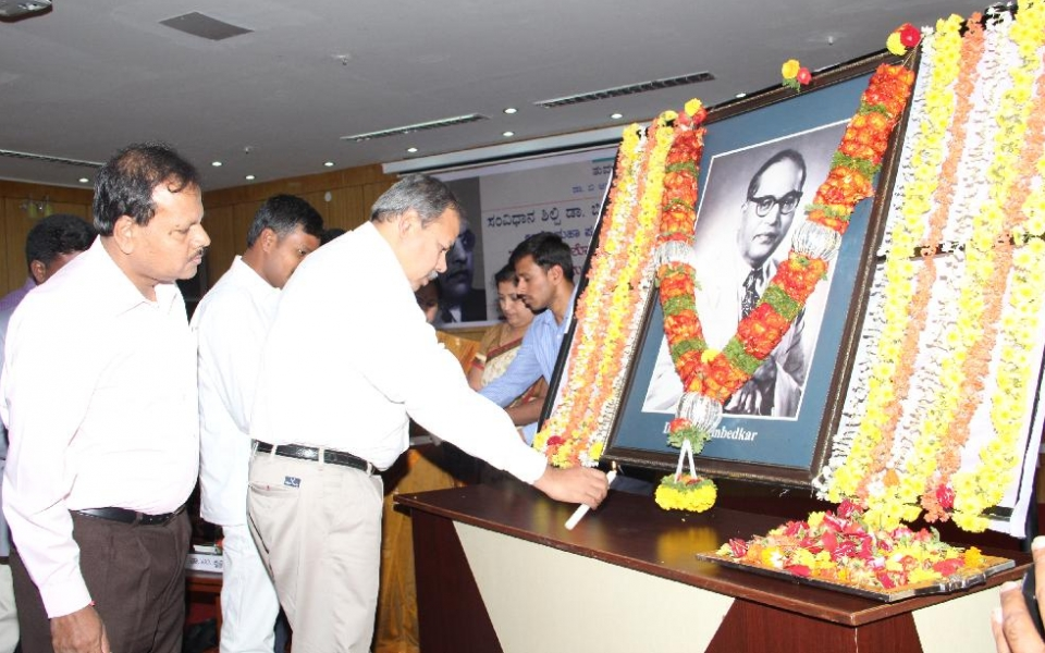 Sri M Nanjundaswamy, IPS, DIG of Police at One Day Workshop organized on the occasion of Dr. B.R.Ambedkar Parinirvana Day, held on 06 Dec 2014. Registrar, Prof. D Shivalingaiah, Laurate Dr. M. Chinnaswamy and Prof. K.S.Bhagwan were also present.
