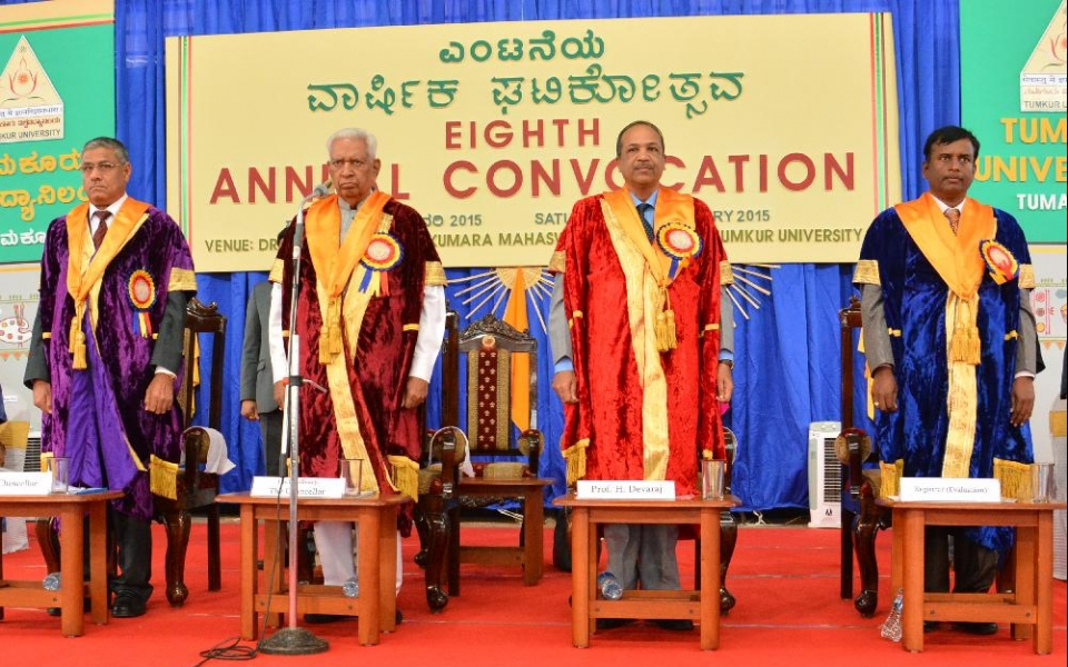 Eight Annual Convocation held on 24 Jan 2015 - Presided by His Excellency Shri Vajubhai Rudabhai Vala, the Chancellor of Tumkur University and the Governor of Karnataka; Chief Guest, Prof. H Devaraj, Vice Chairman, UGC; Vice Chancellor, Prof. A.H. Rajasab and Registrar (Evaluation), Dr. N B Naduvinamani were present.