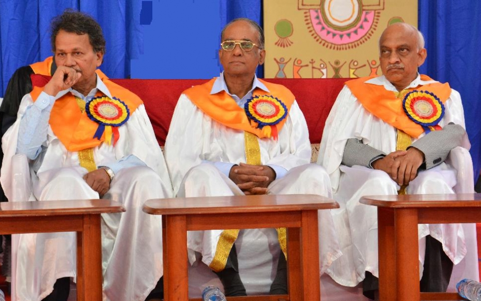 Recipients of Doctorates Honoris Causa at the 8th Convocation held on 24 Jan, 2015: Eminent Litterateur Dr. Baragur Ramachandrappa; Popular Science Writer Dr. T R Anantharamu and ISRO Chairman Dr. A.S. Kiran Kumar