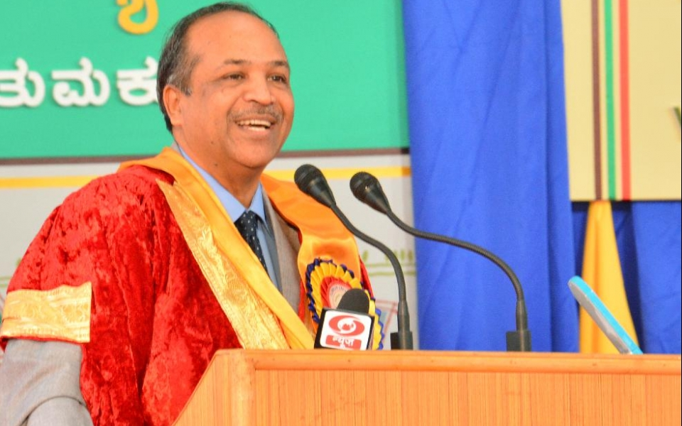 Professor H Devaraj, Hon'ble Vice Chairman, UGC, delivering the 8th Annual Convocation Address of Tumkur University on 24 Jan 2015