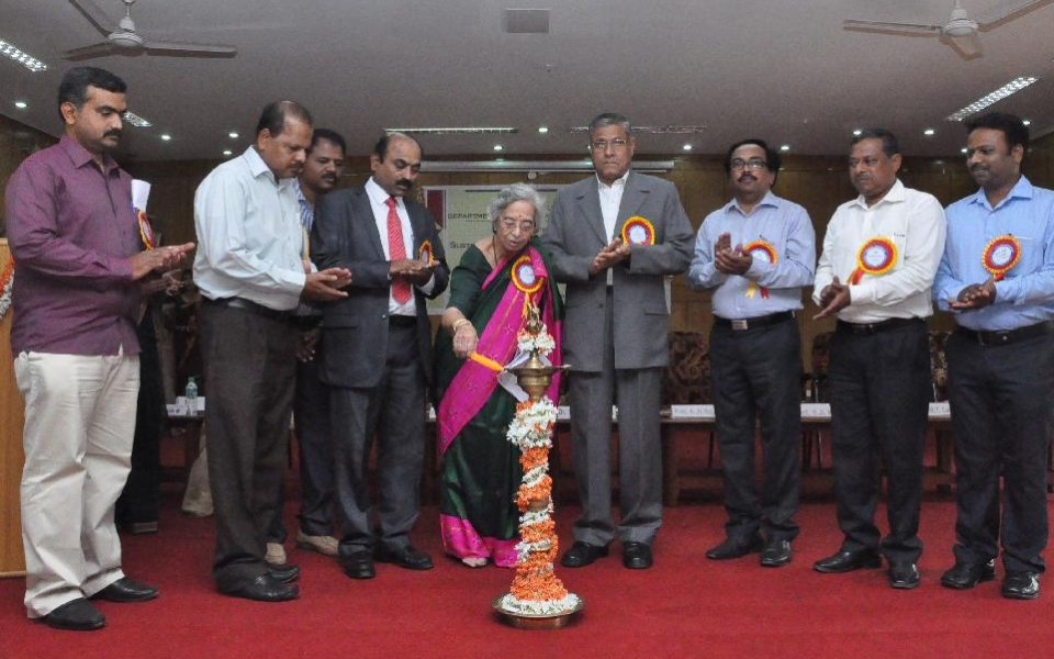 Inauguration of National Conference - Sustainable Livelihood and Poverty Alleviation - by Dr. Sunanda Kaushik , Ex Director, Karve Institute of Social Science held on 26 March 2015. Chief Guests - Prof. Y S Siddegowda, Prof. S A Kazi, Prof. B T Lavani, Vice Chancellor, Prof. A H Rajasab and Registrar, Prof. D Shivalingaiah are present.