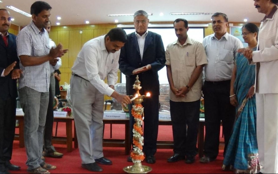 """Inauguration of National Conference """"Synthetic and Structural Chemistry –NCSSC 2015"""" by Prof.G.Mugesh, IPC Department, IISC, Bangalore held on 19th March 2015. Other Chief guests are Dr.V.Ganesh, Scientist, Karaikudi; Dr.B.K.Bettadaiah, Scientist, CFTRI,Mysore; Prof.V.V.Suresh Babu, Bangalore University; Prof.Rajasab,  and Dr.Eswara"""