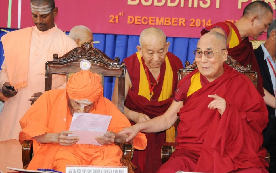 Inauguration of International Conference - Ethics in the New Millennium: Buddhist Perspectives - by HH The 14th Dalai Lama and Sree Sree Sree Dr. Shivakumara Mahaswamiji of Sri Siddaganga Math, held on 21 Dec 2014