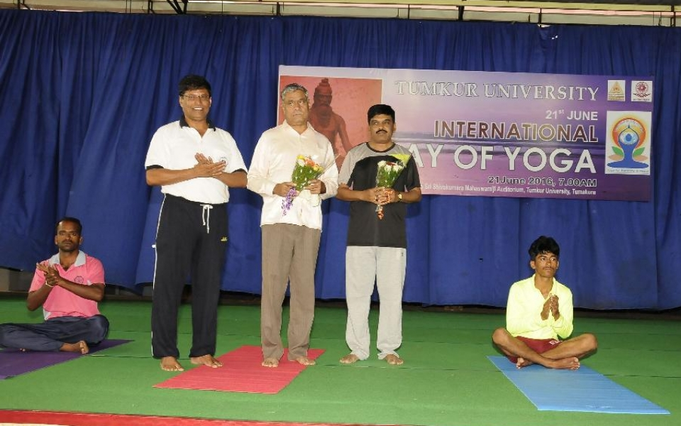 Celebration of International Day of Yoga held on 21 June, 2016. Prof. A H Rajasab, Vice Chancellor inaugurated the programme, Prof. M Venkateshwarlu, Registrar and Dr. A M Manjunath, Director of Physical Education are seen along.